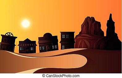 Desert scene with many buildings at sunset