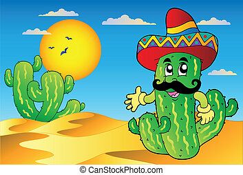 Desert scene with Mexican cactus - vector illustration.