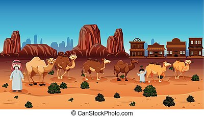 Desert scene with people and camels