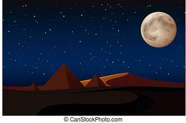 desert scene with pyramids at night