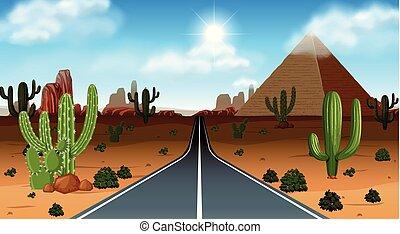 Desert scene with road