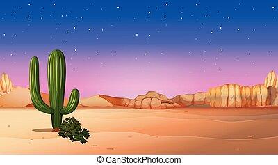 desert scene with sunset