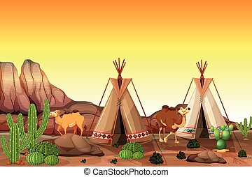 Desert scene with tents and camels