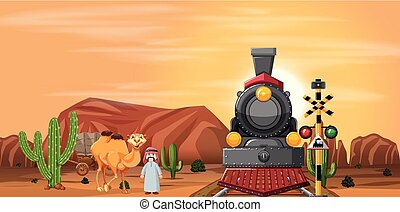 Desert scene with train and camel