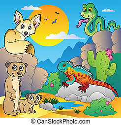 Desert scene with various animals 4 - vector illustration.