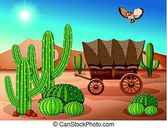 Desert scene with wagon and cactus