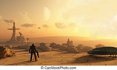 Desert Science Fiction Village - Space marine discovering an...