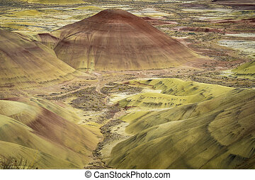 Desert shapes and colors, Painted Hills, Oregon - Abstract ...