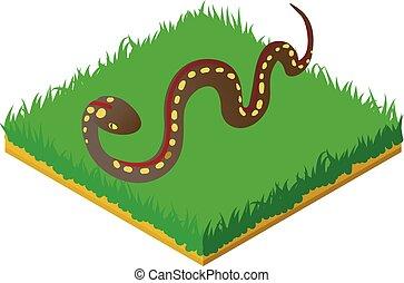 Desert snake icon, isometric style