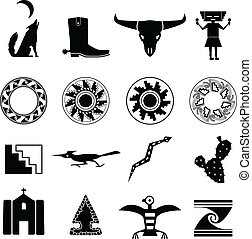 Desert Southwest Icons - Set of silhouettes of objects from...