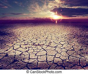 Desert storm and dry soil
