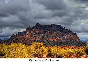 Desert Storm - Storm forming over a rugged desert mountain