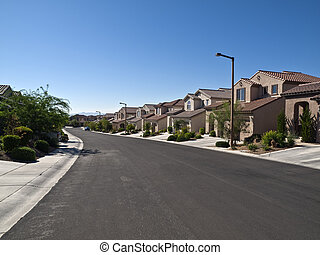 Desert Suburbia - Modern street of typical middle class...