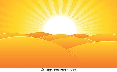 Illustration of a summer desert landscape poster background, for holidays or travel advertisement sign or banner