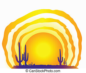 Desert Sun - a foreground with the silhouette of the ground ...