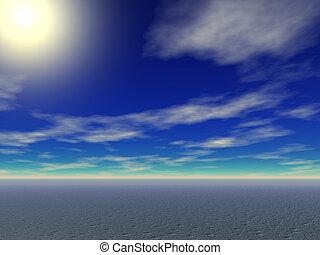 Desert Sun - Brilliant sun rising over the desert sands