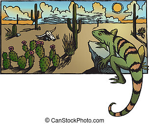A desert sunrise landscape with cacti and a lizard.