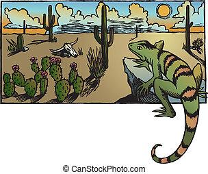 Desert Sunrise - A desert sunrise landscape with cacti and a...