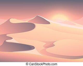 Desert sunset vector landscape with sand dunes