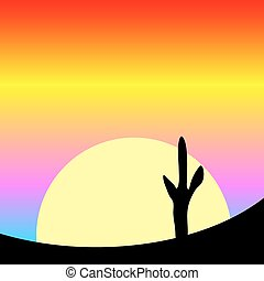 Desert sunset with cactus plants.
