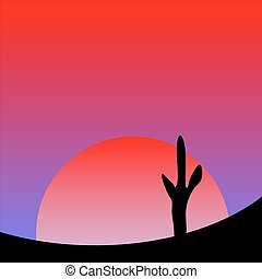 Desert sunset with cactus plants.