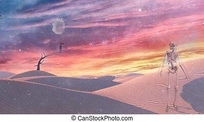 Desert - Surreal white desert. Man with red umbrella stands ...