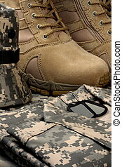 desert tactical boots and military tag chains - army...