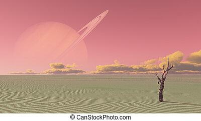 Desert terraformed moon of saturn or exosoalr planet