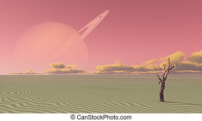 Desert terraformed moon of saturn or exosoalr planet