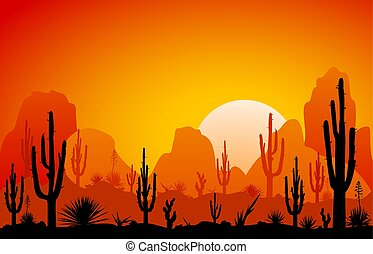 Desert, the sunset - Sunset in the desert. Silhouettes of...