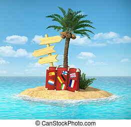 Desert tropical island with palm tree, chaise lounge, suitcase a