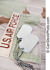 Desert uniform and dog tags