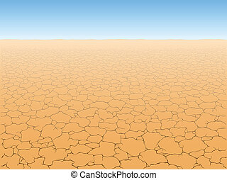 Desert landscape with cracked earth vector illustration