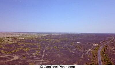 desert., vide, milieu, vue aérienne, voiture, route, ...