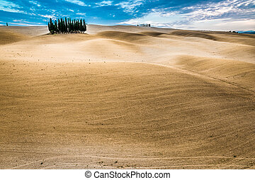 Desert view in the autumn of Tuscany
