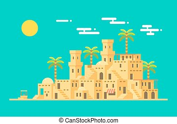 Desert village middle east mud brick town illustration...