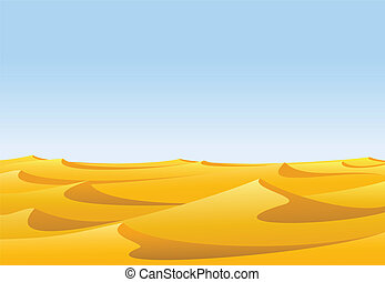 Desert - Warm day in barren desert with yellow sand dunes...