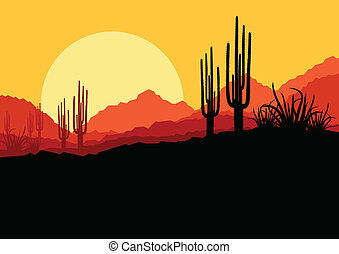 Desert wild nature landscape with cactus and palm tree ...