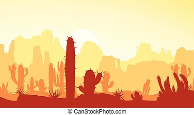 desert with cactus at sunset