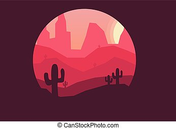 desert with cactuses at sunset nature landscape