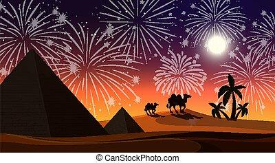 Desert with celebration fireworks scene