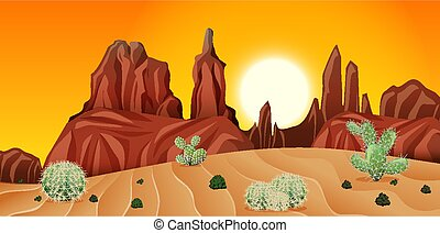 Desert with rock mountains and cactus landscape at sunset scene