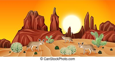 Desert with rock mountains and coyote landscape at sunset scene