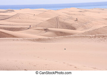 Desert with sand dunes in Gran Canaria Spain