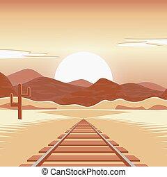 desertado, paisagem., estrada ferro, vetorial, ilustração