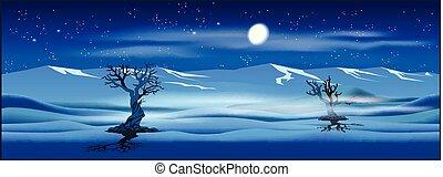 desertado, paisagem, noturna