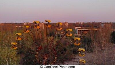 Deserted amusement park in city Pripyat.