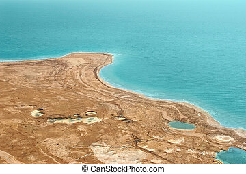 Deserted coast on Dead Sea in Israel.