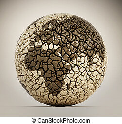 Deserted earth with cracked soil. 3D illustration