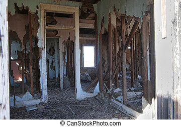 Deserted homes abandoned and destroyed
